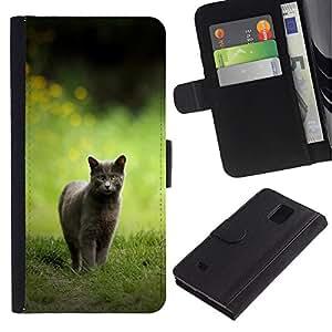 """JackGot ( Gato Caza"""" ) Samsung Galaxy Note 4 IV la tarjeta de Crédito Slots PU Funda de cuero Monedero caso cubierta de piel"""