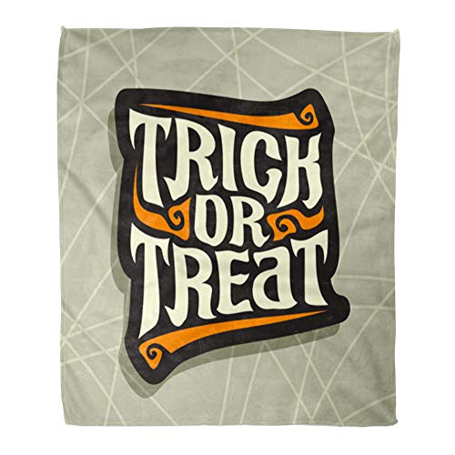 Emvency Throw Blanket Warm Cozy Print Flannel Halloween Slogan Trick Treat for Quote of Words on Gray Abstract Hand Lettering Comfortable Soft for Bed Sofa and Couch 60x80 Inches -