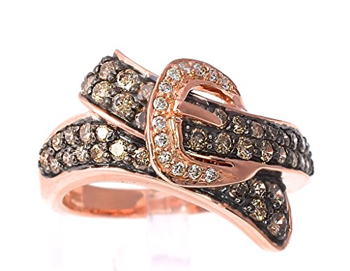 LeVian Buckle Ring 0.95 Ct Chocolate And Vanilla Diamonds (SI2-SI3) Band 14k Rose Gold Size 7 1/4