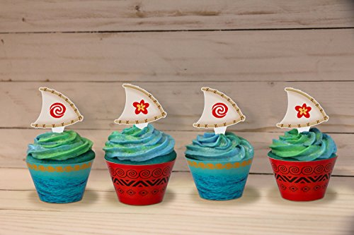 Luck Sea Moana Cupcake Toppers Wrappers Party Supplies