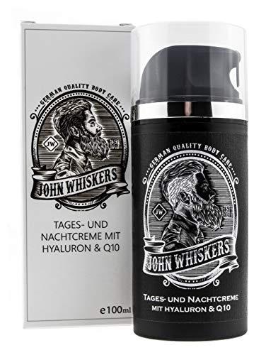 John Whiskers Tages- und Nachtcreme – Made in Germany – mit Hyaluron und Q10 – Gesichtspflege für Männer