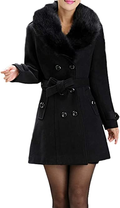 iYYVV Womens Winter Lapel Wool Coat Trench Jacket Long Overcoat One Button Outwear