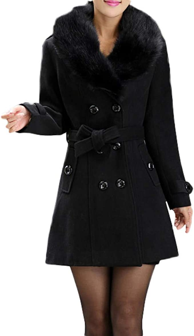FIRERO Womens Winter Solid Wool Jacket Trench Loose Overcoat with Belt Ladies Lapel Outwear