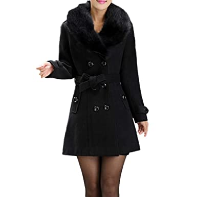 3dd7ffc9463a1 Transer- Women s Plus Size Faux Fur Collar Double-Breasted Wool Coat Parka  Jacket with