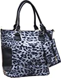 Femina Animal Print Tote Purse with Clutch (Grey)