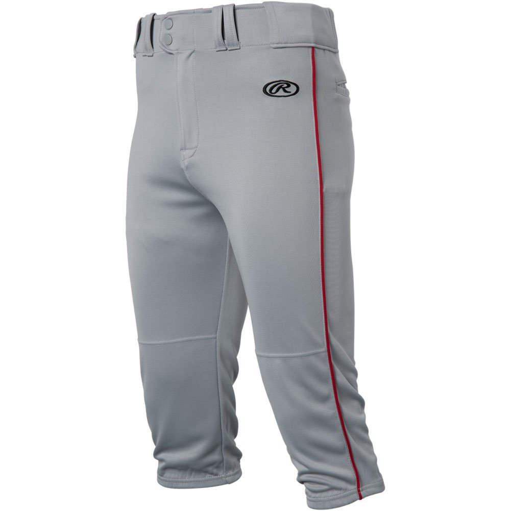 RawlingsメンズLaunch Piped Knickerパンツ B0779D17WS Large|Grey|Scarlet Grey|Scarlet Large