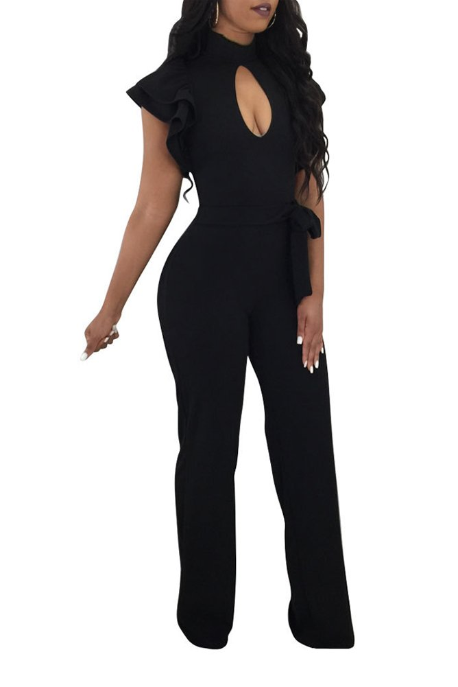 Kafiloe Womens Ruffle Short Sleeve Belted Flare Bottom Palazzo Pants Romper Bodycon One Piece Jumpsuit Outfit Party Clubwear Black L