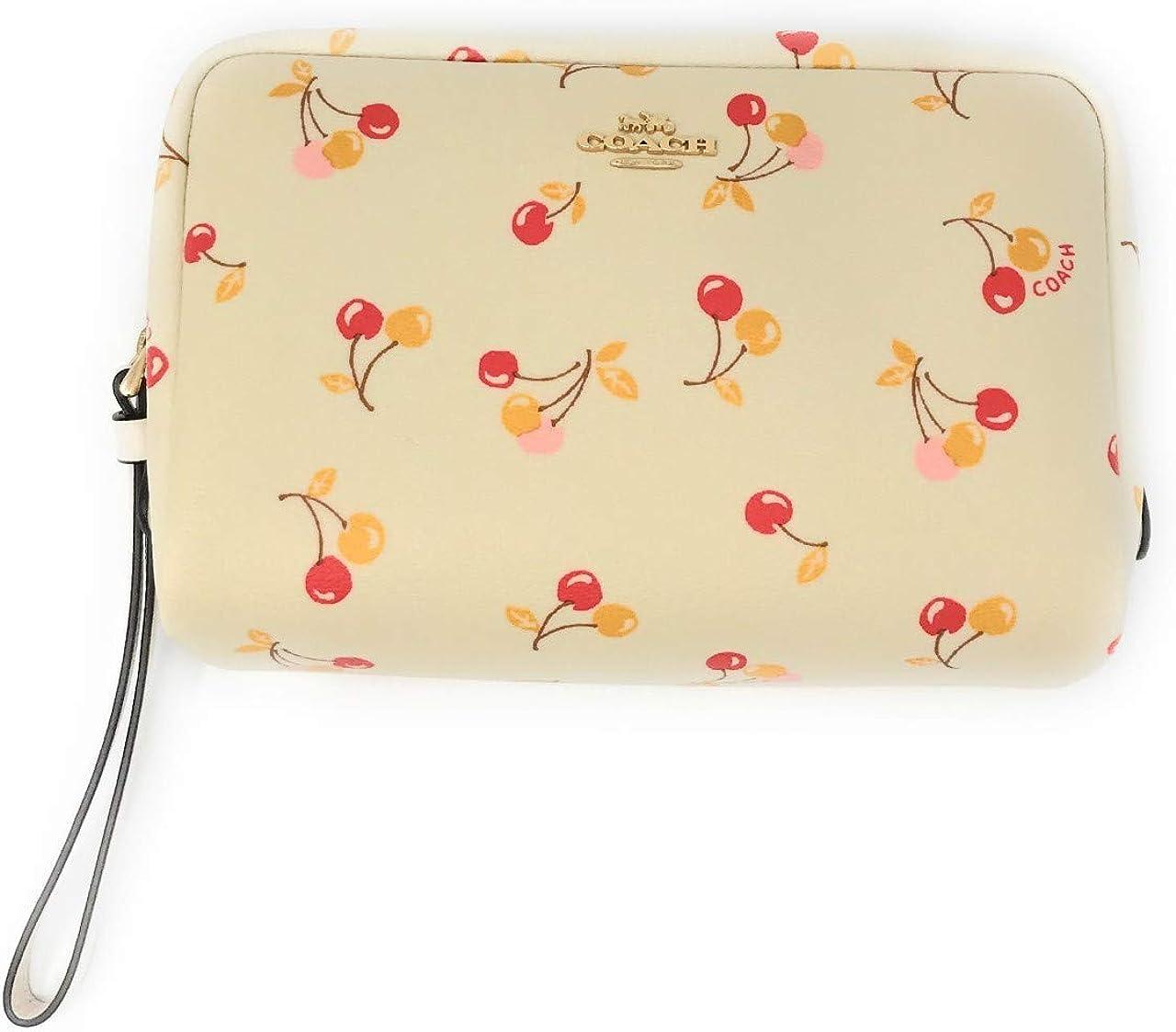 Coach F31909 Cherry Print Cosmetic Makeup Case 20 Travel Bag Chalk