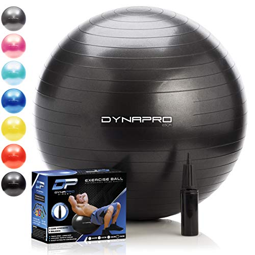 DYNAPRO Exercise Ball - 2,000 lbs Stability Ball - Professional Grade - Anti Burst Exercise Equipment for Home, Balance, Gym, Core Strength, Yoga, Fitness, Desk Chairs (Black, 75 Centimeters)