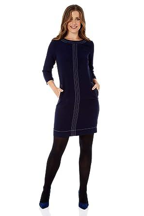 Roman Originals Womens 3 4 Length Sleeve Round Neck Contrasting