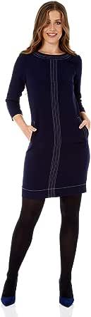 Roman Originals Vestido de mujer de punto superior de contraste – Vestido elegante para fiesta, trabajo, oficina, negocios, hasta la rodilla, cuello redondo, túnica