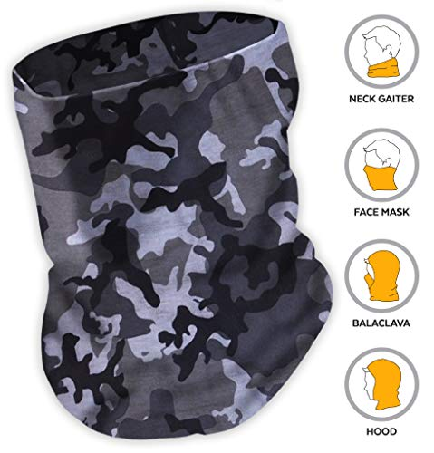 12-in-1 Headwear - Versatile Outdoors & Daily Headwear - Wear as a Bandana, Headband, Neck Gaiter, Balaclava, Helmet Liner, Mask. Moisture Wicking Microfiber for Fishing, Hiking. Lab Tested UPF -