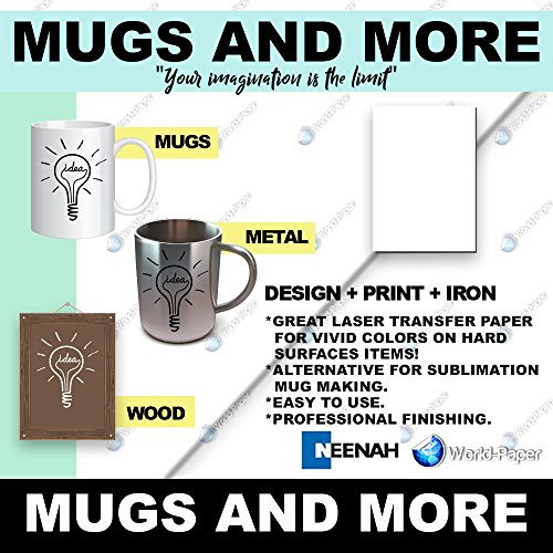 Mugs and More - Transfer Paper for Mugs, Metals, and More - 8.5'' x 11'' (25/Sheets) by world-paper