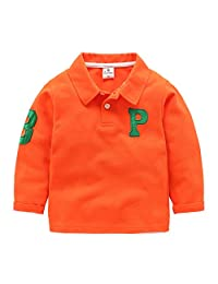 Mud Kingdom Boys' Letter P Polo-shirt Long Sleeve