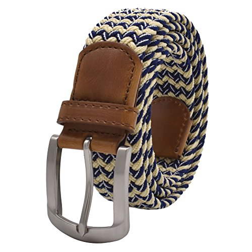 Stretch Belt, Vonsely Elastic Belts Braided Fabric Belt Colorful Woven Belts for Men and Women, Blue-Beige Strape ()