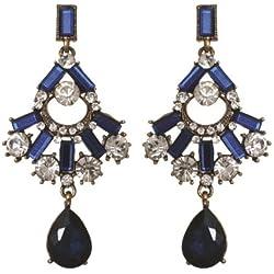 Blue Clear Rhinestone Prom Formal Fan Drop Dangle Gold Tone Earrings