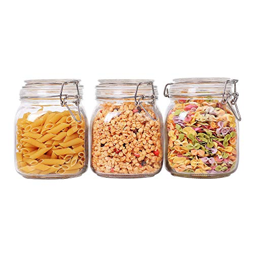- ComSaf Airtight Glass Canister Set of 3 with Lids 34oz Food Storage Jar Square - Storage Container with Clear Preserving Seal Wire Clip Fastening for Kitchen Canning Cereal,Pasta,Sugar,Beans,Spice