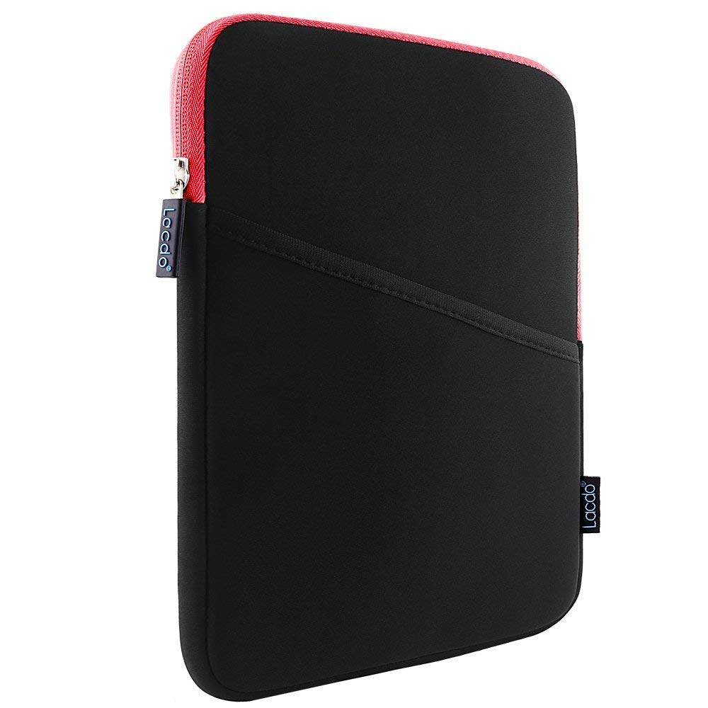Lacdo Shockproof Tablet Sleeve Case for 11 inch New iPad Pro 2018 | iPad Pro 10.5 inch | 9.7 inch New iPad | iPad Air 2 | Samsung Galaxy Tab 10.1 Protective Bag, fit Apple Smart Keyboard, Red/Black