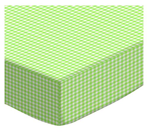 SheetWorld Extra Deep Fitted Portable Mini Crib Sheet - Primary Green Gingham Woven - Made In USA by SHEETWORLD.COM