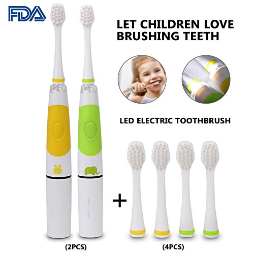 2PCS Child Electric Toothbrush Kid Sonic Toothbrush Smart Reminder Baby Toothbrush with 4 Replaceable Brush Head for 3-14 Baby Kid SG-618 (Light Green and Yellow) by MYUS