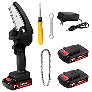 Yodeace Electric Portable Battery Chain Saw, 4inch 21V Portable Handheld Cordless Mini Chainsaw , with 2 Batteriesfor…