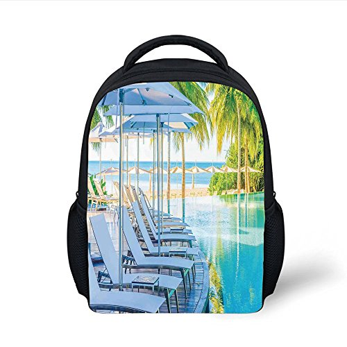 iPrint Kids School Backpack House Decor,Luxury Hotel Pool Near Beach Palm Trees Exotic Resort Umbrella Sunbed Chair, Plain Bookbag Travel Daypack (Palms Hotel Resort)