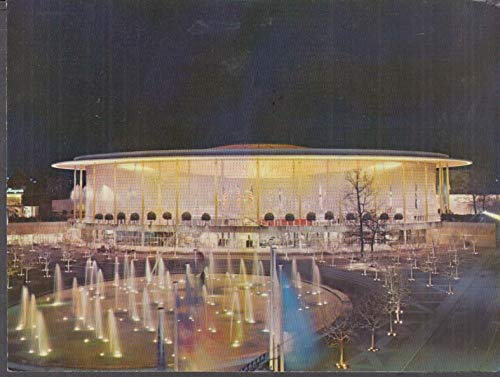 Exposition Universelle de Bruxelles Brussels USA Pavilon by night 1958 postcard