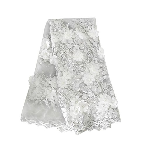 LaceQin 5 Yards African lace embroidered fabric 3D three-dimensional applique flowers without lace lace (Silver)
