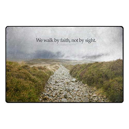Abbylife Bible Quotes Verses We walk by faith not by sight 36''x24'' Non-slip Area Rugs Kitchen Home Decor by Abbylife