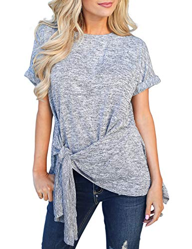 LEANI Women's Short Sleeve Casual T Shirts Wrap Waist Tie Knot Top Tunic Blouse - Tie Top Side Knit