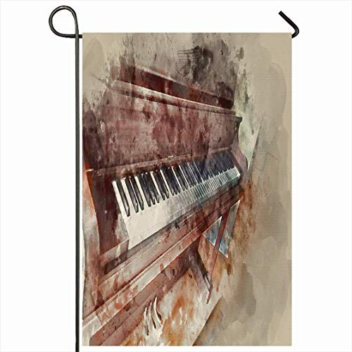 Nick Thoreaufhed Outdoor Garden Flag 12x18 Inches Musical Watercolor Music Piano Water Painting Brown Abstract Paint Orchestra Lesson Class Rare Design Tune Seasonal Home House Yard Sign