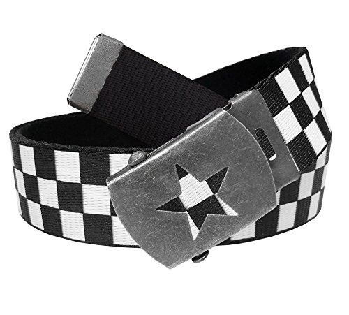 Women's Distressed Silver Star Slider Military Belt Buckle With Canvas Web Belt