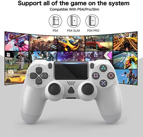 Controller Compatible with PS4, Wireless Controller for Playstation 4/Pro/Slim 1000mAh Game Controller with Dual Motor and Gyro, Built-in Speaker Audio Jack Pro Controller Non-OEM (White)