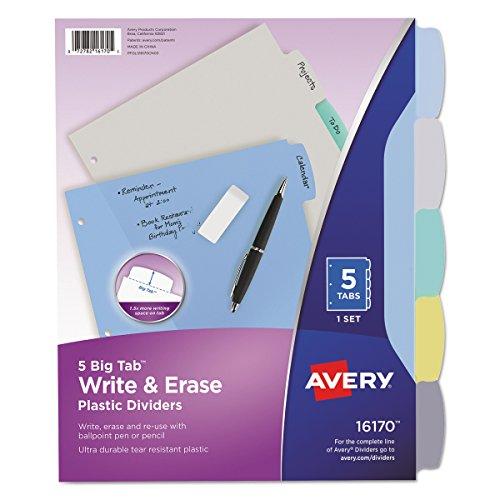 Avery 16170 Write & Erase Big Tab Plastic Dividers, 5-Tab, Multicolor, Letter