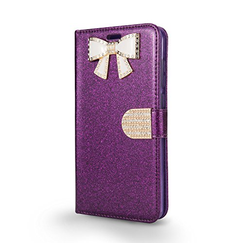 Dark Purple Rhinestone (T-Mobile REVVL Plus Case, Coolpad REVVL Plus Case, Shiny PU Leather Sparkle Rhinestone Butterfly Wallet Case (WBL Dark Purple))