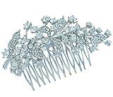 Sindary Bridal Headpiece Clear Austrian Crystal 4.33'' Leaf Wedding Hair Comb HZ2950