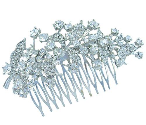 Sindary Bridal Headpiece Clear Austrian Crystal 4.33'' Leaf Wedding Hair Comb HZ2950 by Wedding Hair Accessories-Sindary Jewelry