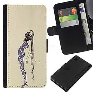 For Sony Xperia Z1 L39 Case , Peacock Girl Fashion Dress Woman - la tarjeta de Crédito Slots PU Funda de cuero Monedero caso cubierta de piel