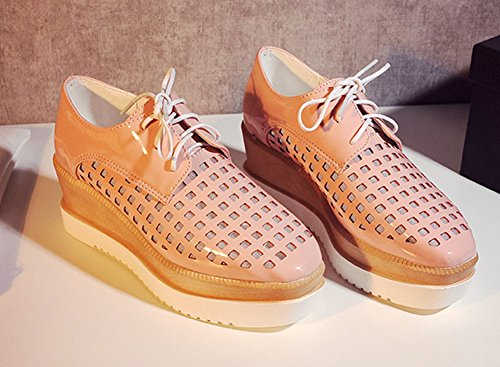 Sfnld Donna Sneakers Spuntate Quadrate Con Tacco A Zeppa Rosa