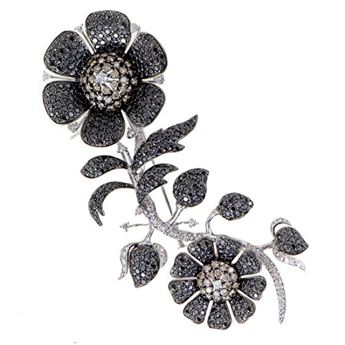 18k Floral Brooch (Luxury Bazaar Womens 18K White Gold Full White Black and Brown Diamond Pave Floral Brooch)