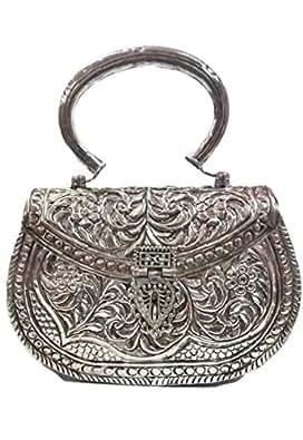 Embragues blancos de plata Vintage hecho a mano de latón monedero de metal embrague de la