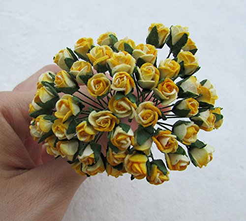 Rose Paper Doll (25 pcs mini Yellow Rose Bud 7x7mm Mulberry Paper Flowerscrapbooking wedding doll house supplies)