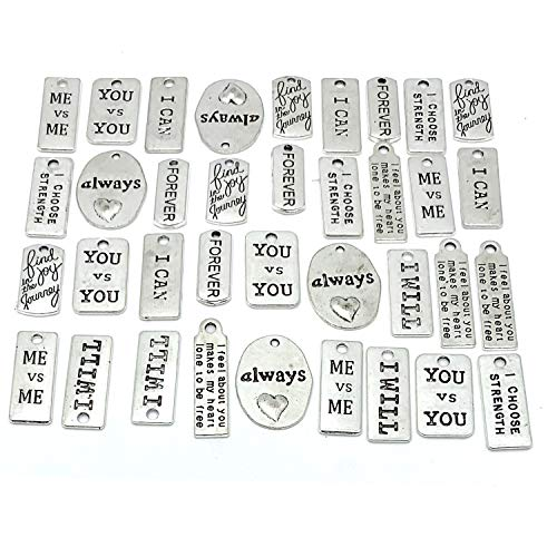 YETOOME 40 Pcs Inspirational Message Sayings Charms, Silver Words Charms Craft Supplies Mixed Pendants Beads Charms for Crafting Jewelry Making