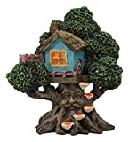 """Ebros Whimsical Forest Ent Greenman Cottage Blue Nook Tree House Statue with Mushroom Conk Steps 6.5"""" High As Fairy Garden Treehouse Accessory Decor for Home Collectible Figurine"""