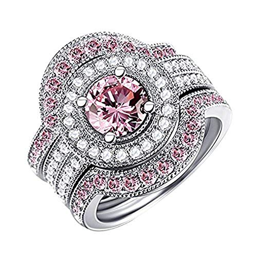Caperci 3 Piece Sterling Silver Round CZ & Created Pink Sapphire Bridal Engagement Wedding Ring Sets