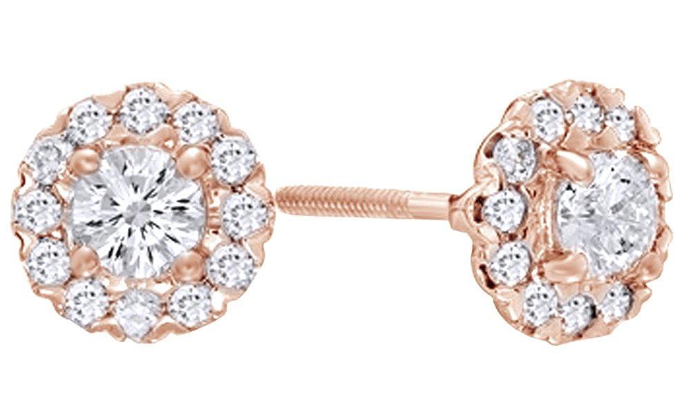 Weißszlig;er Bilderrahmen mit Diamanten-Ohrringe, 14 kt 585, Weißszlig;Gold-0.62 cttw 14 Karat RotGold