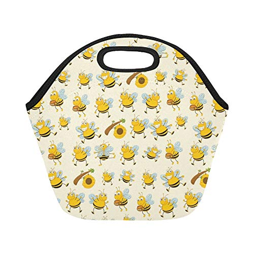 (Insulated Neoprene Lunch Bag Bee Cartoon Flying Bee Daisy Honey Pollen Flower Spring Animal Catton Large Size Reusable Thermal Thick Lunch Tote Bags For Lunch Boxes For Outdoors,work, Office, School)
