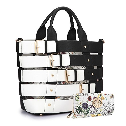 (Women Leather Handbag Belt Tote Floral Drawstring Bucket Bag Purse Handbag Wallet Set(6665-BK))