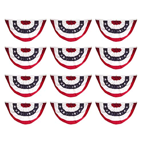 Super Tough 12-Pack, 18in x 36in Sewn Polyester Pleated Fan Flag - Fan Pleated Bunting