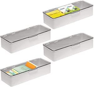 mDesign Plastic Stackable Box Home Office Supplies Storage Organizer Box with Attached Hinged Lid - Holder for Note Pads, Gel Pens, Staples, Dry Erase Markers, Tape - 4 Pack - Light Gray